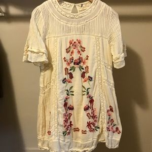Free People Floral Embroidered Dress